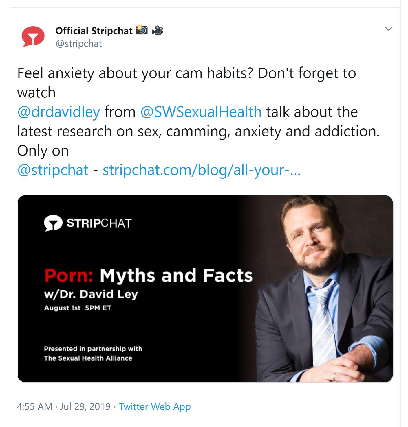7-29-19 -Feel anxiety about your cam habits. Don't forget to watch -drdavidley from -SWSexualHealthtalk about the latest research on sex, camming, anxiety and addiction.